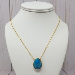 Turquoise Pendant on Gold Chain